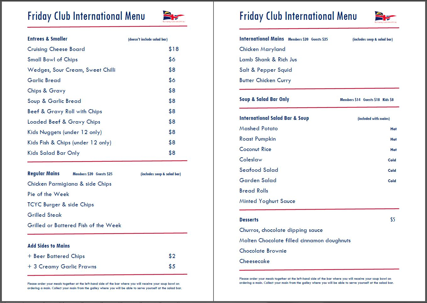 International Menu